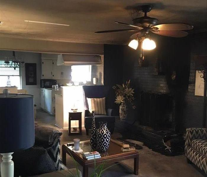 fire damage in a living room