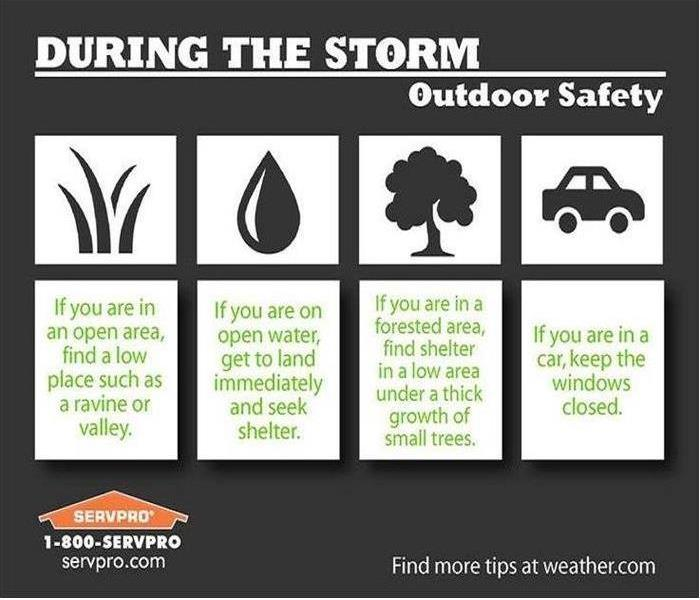 storm safety instructions written in green on a black and white background