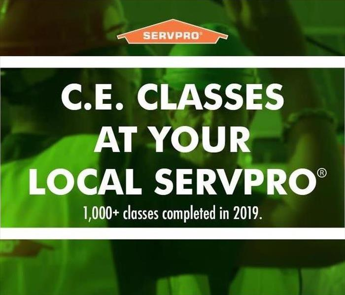 white writing on a green background with the SERVPRO logo above it
