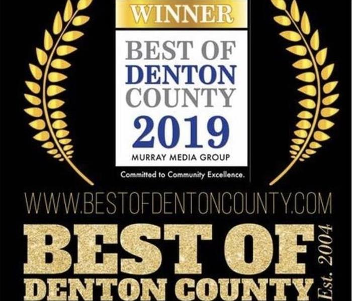 black background with white blue and gold writing for Best of Denton County award