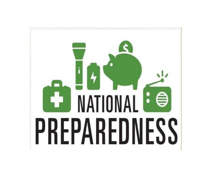 first aid kit, flashlight, battery, bank and radio with text: National Preparedness